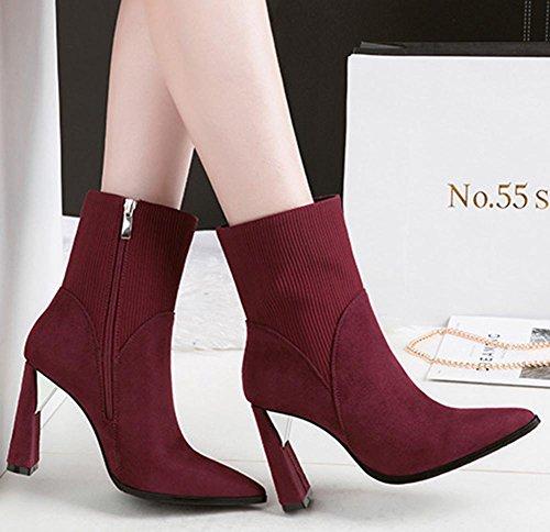 Easemax Women's Elegant Side Zipper Chunky High Heels Faux Suede Pointy Toe Ankle Booties Wine Red gkyj66srV
