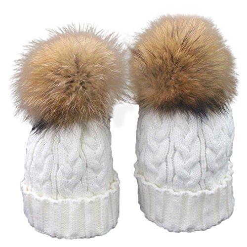 Fullkang Mom And Baby Winter Crochet Hat Fur Wool Knit Warm Cap (White) by Fullkang