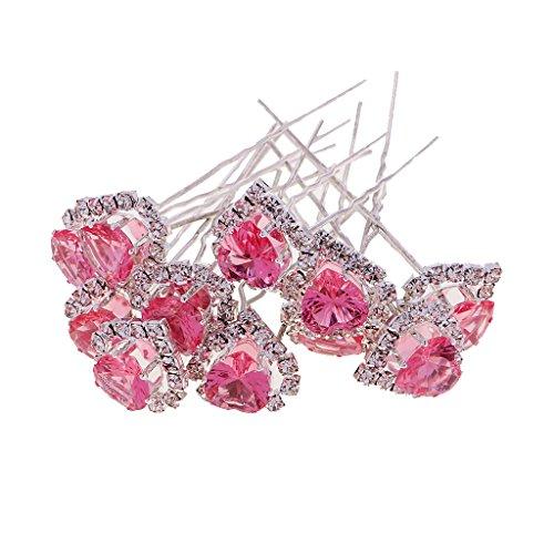 Dovewill 12 Pieces Crystal Diamante Rhinestone Heart Hair Pins Slide Clip Grips Bridal Hair Jewelry - (Rhinestone Heart Hair Pin)