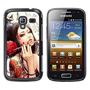 TopCaseStore / la caja del caucho duro de la cubierta de protección de la piel - Sexy Woman Tattoo Artist Red Flower Ink Brush - Samsung Galaxy Ace 2 I8160 Ace II X S7560M