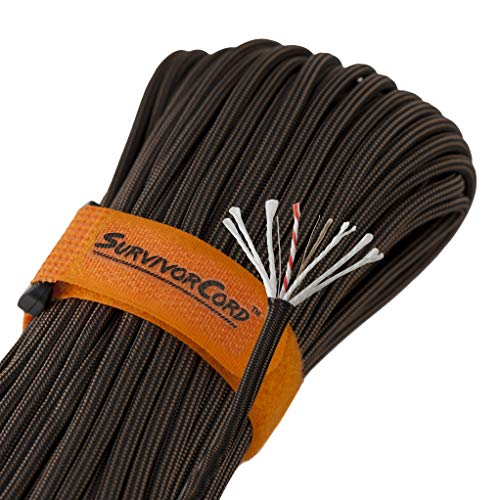 TITAN SurvivorCord | BRONZE | 100 Foot Hank | Patented Military Type III 550 Paracord / Parachute Cord (3/16 Diameter) with Integrated Fishing Line, Fire-Starter, and Snare Wire