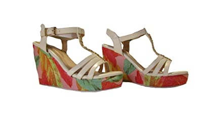 781d5a2f23 Top Moda EL1 Womens Strappy Open Toe Platform Wedge Sandals with Gold  Accents and Floral Print