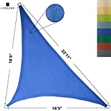 LyShade 16'5'' x 16'5'' x 22'11'' Right Triangle Sun Shade Sail Canopy (Blue) - UV Block for Patio and Outdoor