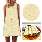 Women's Plus Size Sleeveless Dress, Tuscom 2019 Newest Burrito Tortilla Dress Womens Summer Casual Crew Neck T-Shirt Sundresses Loose Summer Beach Dresses Mini Dress (Large, Yellow)