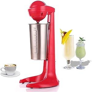 Electric Milk Shaker Machine Milkshake Mixer Milk Frother Coffee Foamer Milk Tea Mixer With 2 speed Adjustable and 17 oz Stainless Steel Mixer Cup… (1)