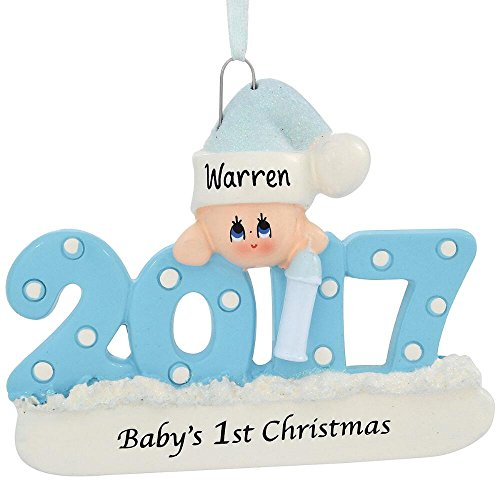 Babys first christmas ornament amazon babys first xmas ornament 2017 blueboy includes personalization negle Images