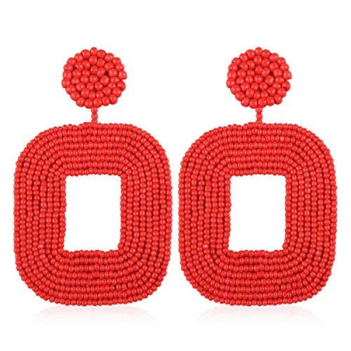 Statement Beaded Hoop Earrings Handmade Square Bead Drop Dangle Earrings for Women Girls Bohemian Trendy Fashion Lightweight Party Studs Ear Jewelry Accessories with Gushion Gift Box GUE133 Red