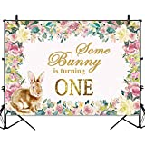 Allenjoy 7x5ft Easter Bunny Backdrop for Kids Birthday Party Spring Floral Colorful Flowers Baby Rabbit Cake Table Banner Photography Background Photo Studio Booth