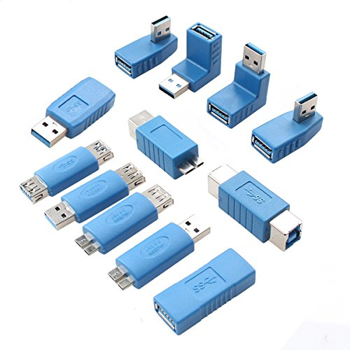 USB 3.0 Adapter Couplers Toolkit 12-Pack Type A to B or Micr