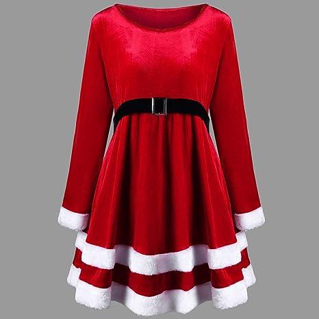 Navidad de BaZhaHei, Vestido de Manga Larga con Cuello Redondo ...