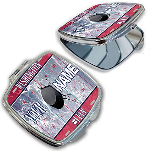 (BRGiftShop Customize Your Own Hockey Team Washington Compact Pocket Cosmetic Mirror)