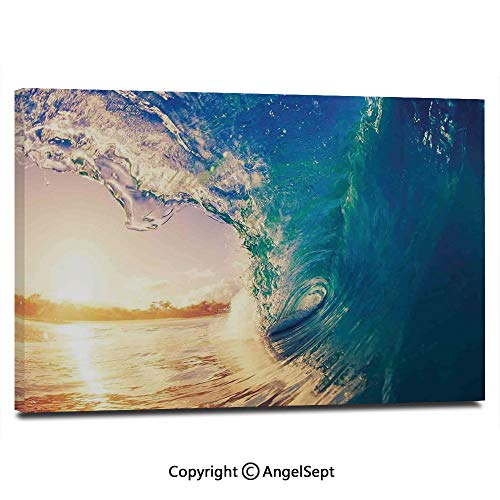 Modern Salon Theme Mural Ocean Wave at Sunrise Reflection on Surface Tropical Trees Shoreline Summertime Picture Painting Canvas Wall Art for Home Decor 24x36inches, Teal Gold