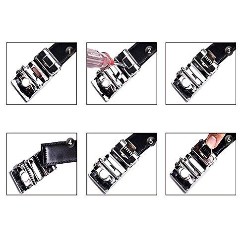 Akpower 5 Di 3 In Cintura 601 Acciaio Cm Pelle Con Inox Da Uomo Larghezza Fibbia Automatica 8nN0kwOPX