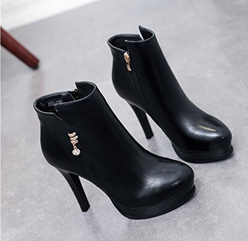 KHSKX-Black Winter New Ladies Boot Round Head Water Drilling Water-Side Zipper Fine And High-Heeled Boots Female Boots 39 8ozDOkx