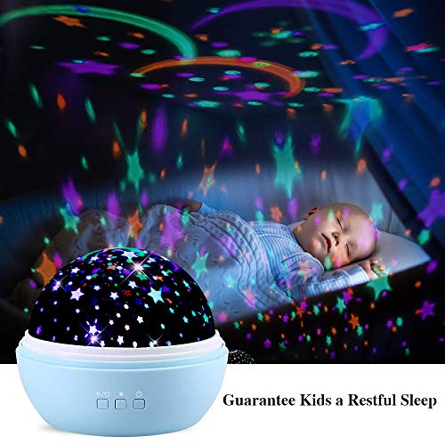 TekHome Ocean & Star Night Light Projector, Gifts for New Moms, Baby Kids Toys for 3-12 Year Old Boys Girls, Baby Shower Gifts, Night Lights for Kids, 2 Films, 8 Colors, 48 Effects, Blue.