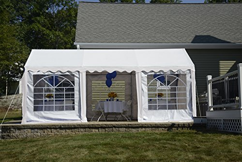 ShelterLogic 25890 Party Tent with 8-Leg Galvanized Steel Frame with Enclosure Kit with Windows, 10 x 20-Feet/3 x 6m, White