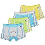 KiMiSUGOi Boys Boxer Briefs 4 Pcs Comfortable Cotton Underwear