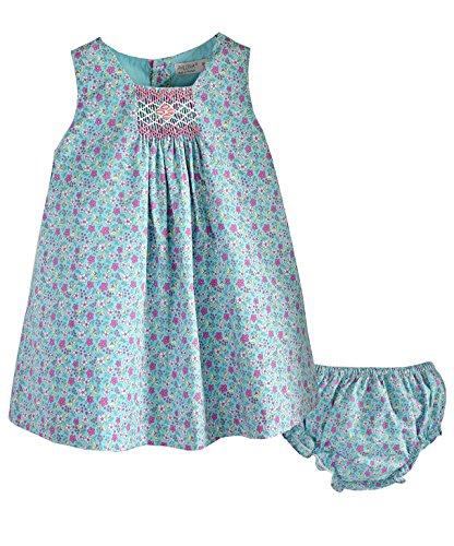 Phlona Baby Girl's Hand Smocked Aqua Floral Sleeveless Dress