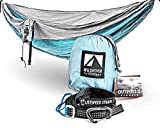 Outpost Double/Single Camping Hammock With 11′ Tree Straps – 100% Parachute Nylon – Cinch Buckle Design, No Knots Required – Easiest Hammock To Hang,Silver/Light Blue For Sale