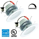 Luxrite LR23015 (2-Pack) 15W 5-6 Inch LED Retrofit Kit Recessed Downlight, 120W Equivalent, Dimmable, Soft White 3000K, 1200 Lumen, 35,000 Hr Life, E26 Base Adapter, Energy Star Qualified, UL-Listed