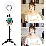 """Trumagine Dimmable LED Ring Light with Light Stand,Makeup Mirror and Phone Holder, Perfect Camera Photo Video Lighting Kit,8"""""""" 24W 5500K Video Tabletop Lights Lamps"""
