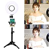 Trumagine Dimmable LED Ring Light with Light Stand,Makeup Mirror and Phone Holder, Perfect Camera Photo Video Lighting Kit,8'''' 24W 5500K Video Tabletop Lights Lamps