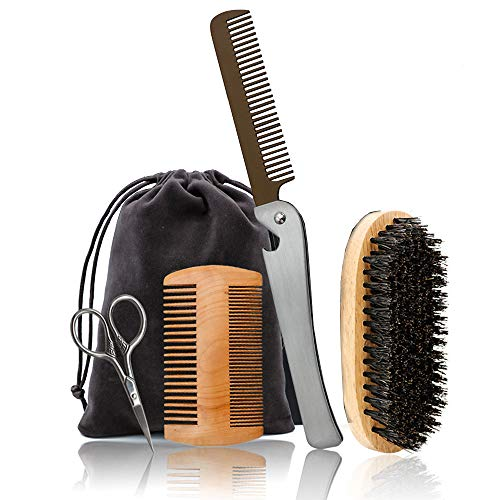 Le Fu Li Beard Grooming & Trimming Kit for Men - Stainless steel folding comb,Boar Bristle Beard Brush, Wooden Mustache & Beard Comb and Beard Scissors for Men,Beard Grooming Care Kit Sets for Men
