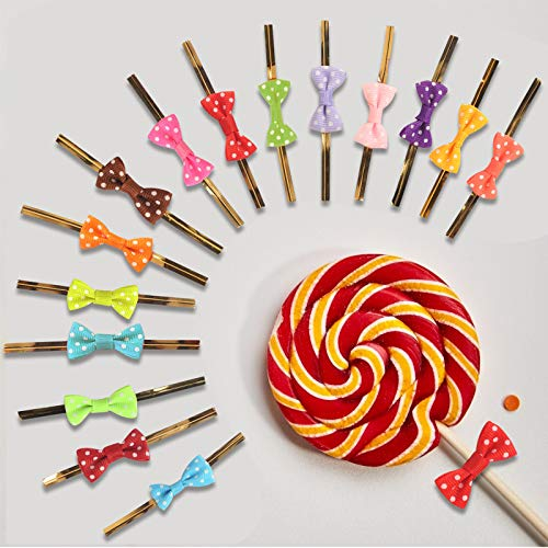 Matogle 150pcs Metallic Twist Tie with Bowknot for Gift Wrapping Cellophane Bags of Bakery Cookies Candy Sweets Lollipop Chocolates Mother\'s Day New Year Wedding Party in 15 Colors