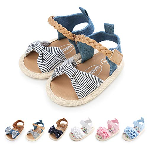 myppgg Baby Sandals Blue Stripes Anti-Slip Crib Prewalker Casual Shoes for Newborns, Infants, Babies, and - Newborn Stripes Crib