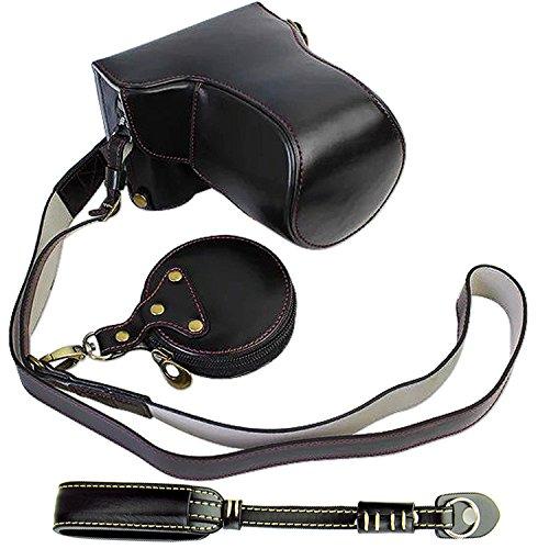 First2savvv XJD-GX85-HH09G10 Premium Qualität braun Ganzkörper- präzise Passform PU-Leder Kameratasche Fall Tasche Cover für Panasonic Lumic DMC-GX85 H-FS14140 lens mit SD-Kartenleser schwarz Kameratasche + 1xKameragurt