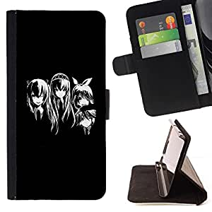 DEVIL CASE - FOR HTC One M8 - Anime Girls Black White - Style PU Leather Case Wallet Flip Stand Flap Closure Cover