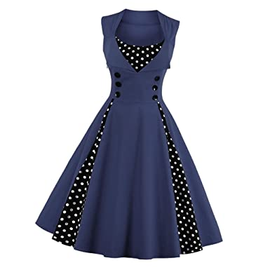 a3b32511e722 Homyl Vintage Women Ladies Housewife Swing Dress Polka Dots 40s 50s Style  Casual Cocktail Party Dress A-Line Pinup Dress: Amazon.co.uk: Clothing