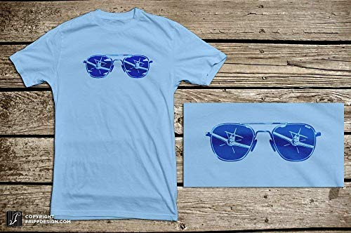 Aviators P-51 Fighter Plane Attack Reflection in Sunglasses - Aviation, Pilot Organic Cotton T ()