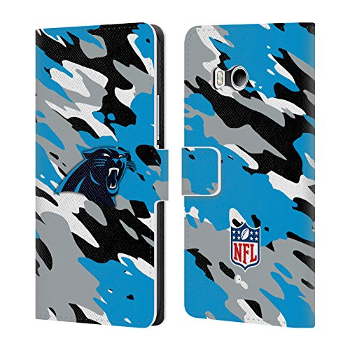 Official NFL Camou Carolina Panthers Logo Leather Book Wallet Case Cover For HTC U11 / Dual (Nfl Logo Leather)
