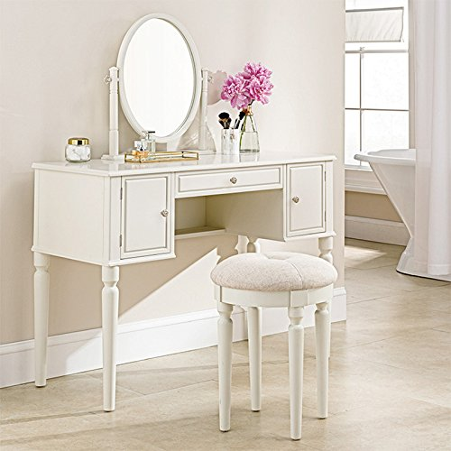 """(SEESUU Dressing Table with Mirror Vanity Mirrored Makeup 3 Drawers Table with Stool Set Wooden Console Jewellery Cabinet Drawers Organizer 42""""X18""""X51.2"""", White)"""