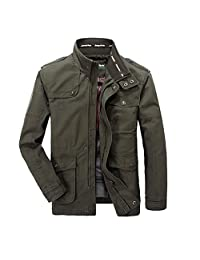 K3K Hot! New Men's 100% Cotton Washed Stand Collar Casual Jacket