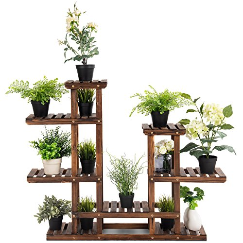 Giantex Flower Rack Wood Plant Stand 7 Wood Shelves 13 Pots Bonsai Display Shelf Indoor Outdoor Yard Garden Patio Balcony Living Room Multifunctional Storage Rack Bookshelf W/Hollow-Out Rack by Giantex