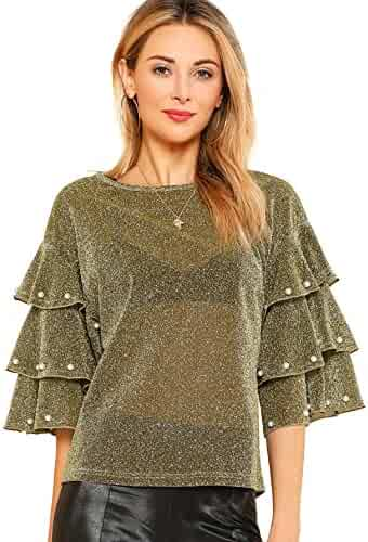 df193d205dbd DIDK Women's Round Neck Pearl Beading Layered Sleeve Glitter Blouse Top
