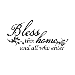 Bless This Home and All who Enter - Vinyl Wall Decal Wall Sticker Motivational Wall Decals,Family Inspirational Wall Stickers