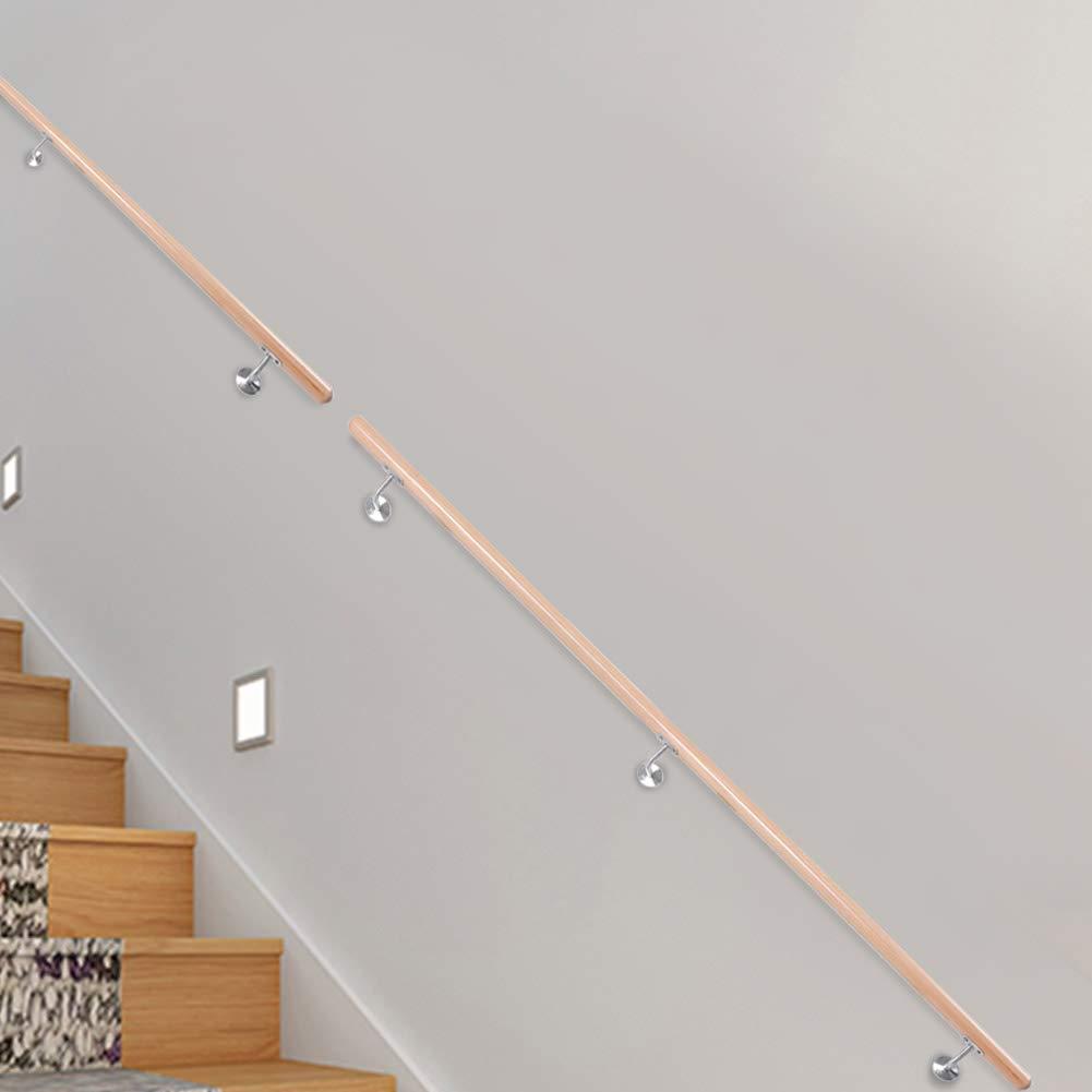 Main Courante en Bois H/être pour Escalier 200CM Rampe descalier Balustrade Garde-Corps Escaliers Poign/ée de S/écurit/é pour Couloir Escalier Grenier Balcon Parapet