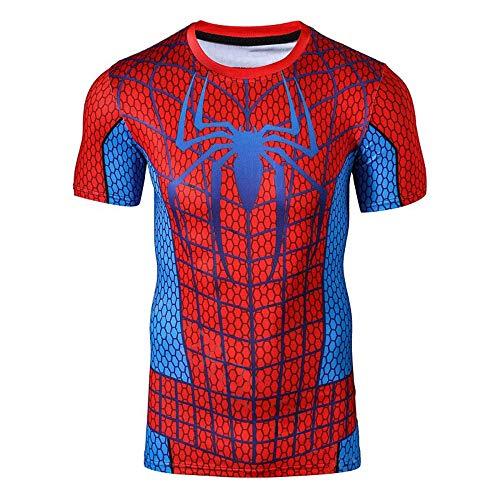 M & C Sports Direct Spiderman BJJ Grappling Rash Guard Spider MMA Compression Shirt for Men - Fight Wear (XXL) Black