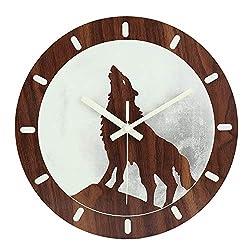 jomparis 12 Night Light Function Wooden Wall Clock Large Luminous Wall Clock