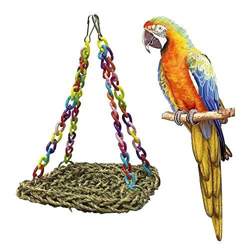 (PanDaDa Parrot Handmade Swing Bird Cages Toys Natural Seagrass Mini Flying Trapeze Toy)