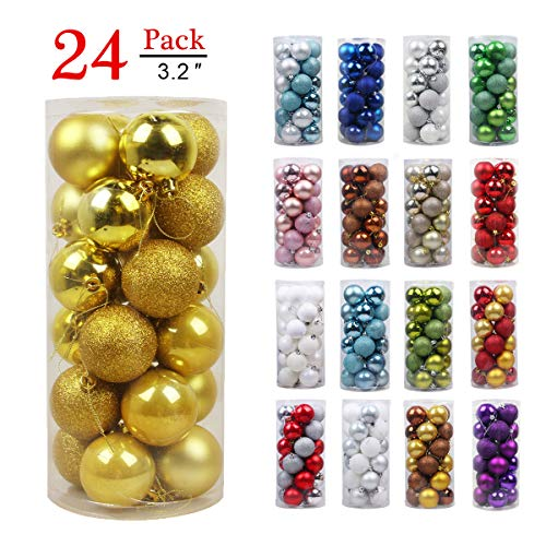 GameXcel Christmas Balls Ornaments for Xmas Tree - Shatterproof Christmas Tree Decorations Large Hanging Ball Gold 3.2