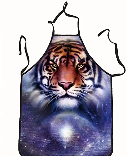 chanrancase tailored apron painting fire tiger on color space background Children, unisex kitchen apron, adjustable neck for barbecue 17.7x26.6+10.2(neck) INCH