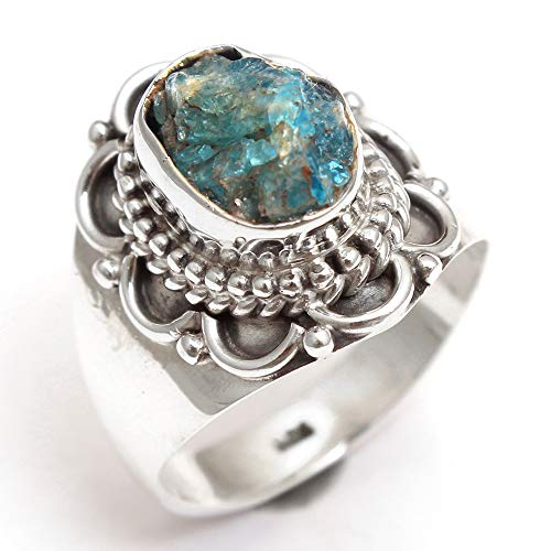 Beautiful Apatite Gemstone Ring 925 Sterling Silver Men's Ring Designer Ring Antique Ring Silver Jewelry ()