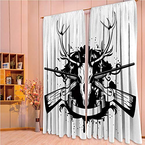 ZHICASSIESOPHIER Finel Kids Curtains for Living Room Bedroom Window Curtains Baby Room Lovely Children Curtains Drapes,Deer Antelope and Crossed Horns Color 108Wx90L Inch