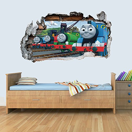 - Train Friends 3D Smashed Wall Art Decal Vinyl Sticker Boys Girls Bedroom Trains L