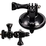 Coocheer 360 Degree Rotation Suction Cup Camera Mount Kit with Greater Suction Power for GoPro Hero,Dash cam,Sony Samsung Panasonic Nikon Cameras(Include 1/4 Inch Tripod Mount Adapter+ Thumbscrew)