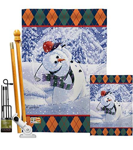 (Breeze Decor FK114119-BO Snowman Golf Winter Winter Wonderland Impressions Decorative Vertical 28